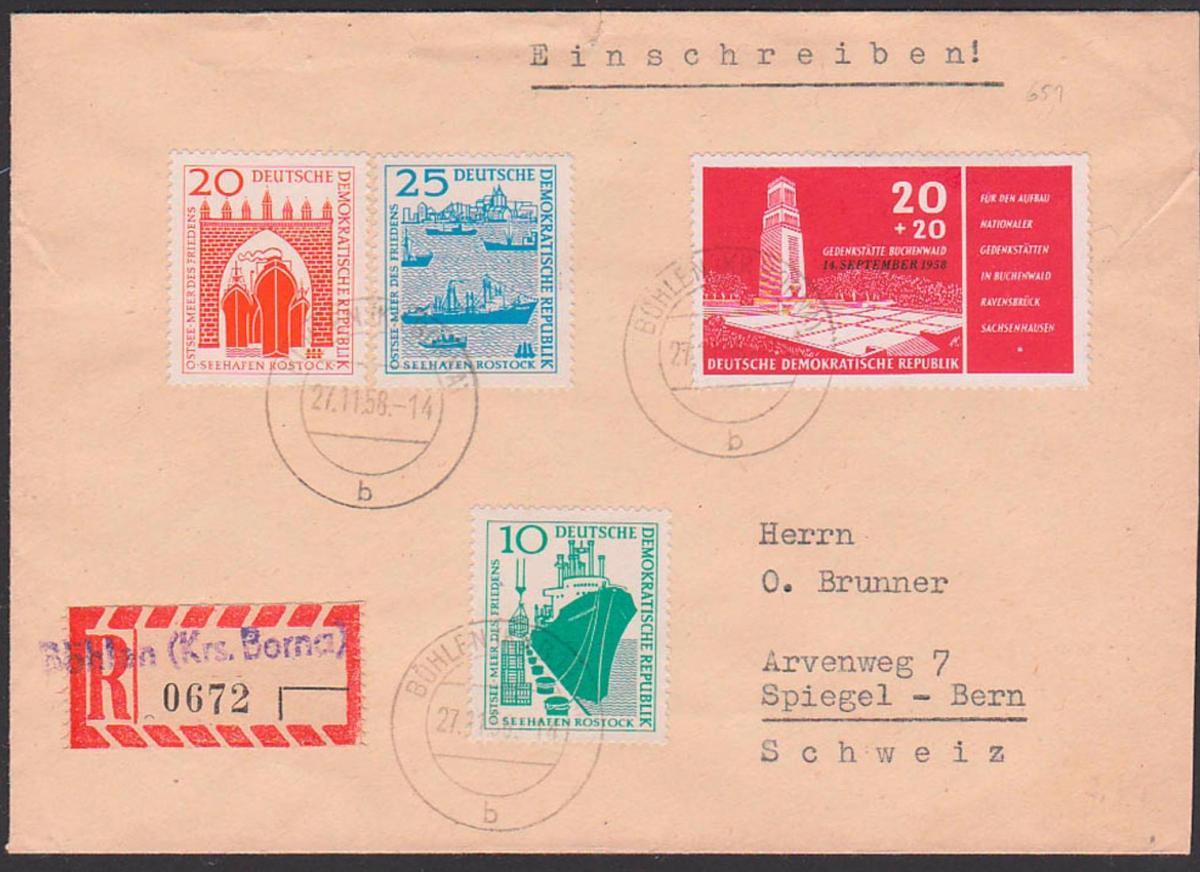Böhlen Kreis Borna DDR 651 20+20 Pf. Gedenkstätte Buchenwald R-Brief mit Aushilfs-R-Zettel, Seehafen Rostock nach Bern