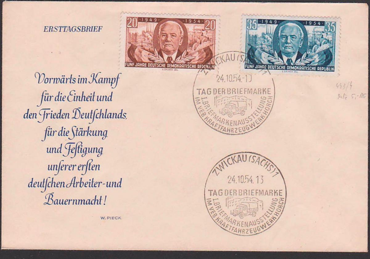 Fahrzeugwerk Horch, Wilhelm Pieck DDR 443/44 SoSt. Zwickau Sachsen Tag der Briefmarke Abb. Lkw Fabrik Schornstein