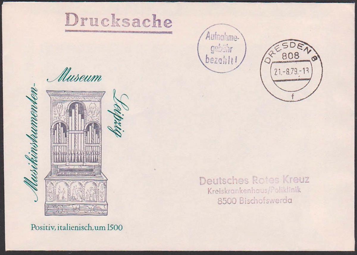 Aufnahme-gebühr bezahlt Dresden 8 21.8.79 Drucksache an Deutsches Rotes Kreuz Barfrankatur