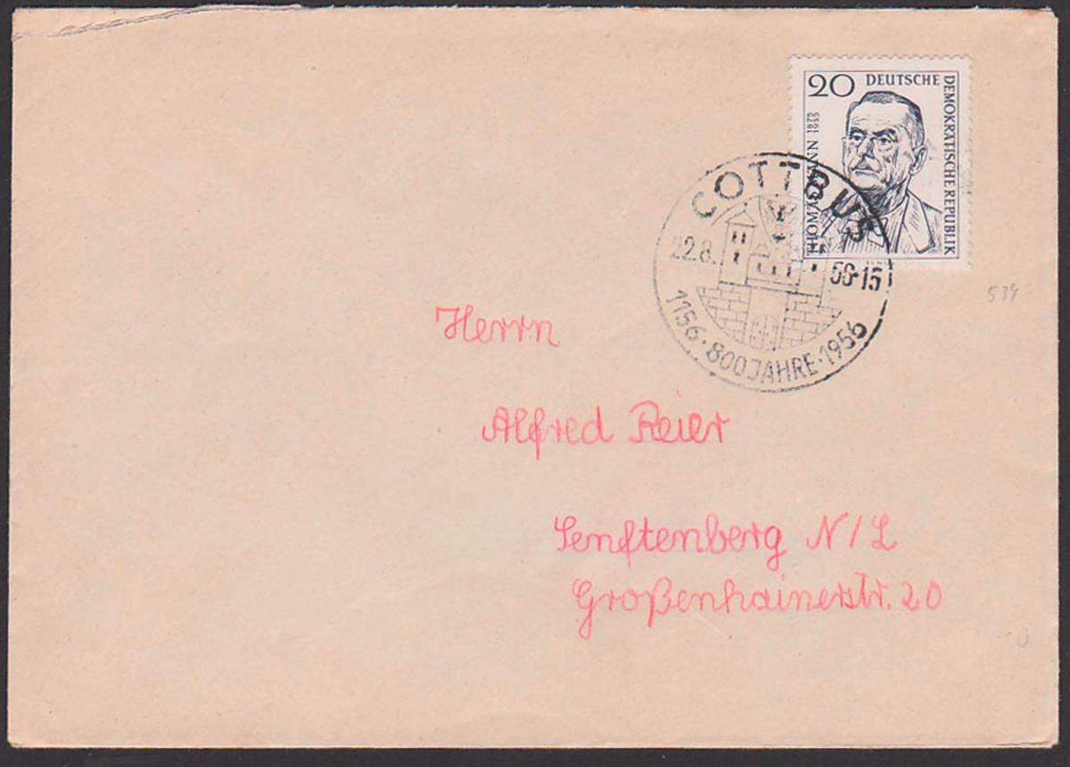 Cottbus SoSt. 1156 - 1956 800 Jahre  22.8.56, SoMke Thomas Mann DDR 534
