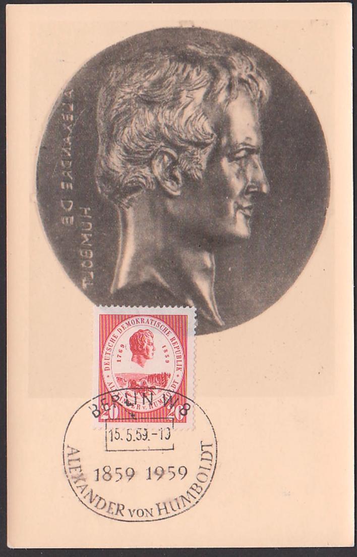 Alexander von Humbold 1859 - 1959, Maxkarte 15.5.59, SoSt. Berlin W8 0