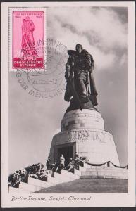 Berlin Treptow Tag der Befreiung Sowjetisches Ehrenmal, Maxkarte 27.12.56, SoSt. Berlin-Pankow Tag der Menschenrechte W8