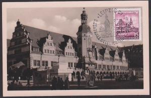Leipzig Altes Rathaus, Maxkarte 23.11.55, SoSt. Leipzig C1 Kulturbund Zentralkoferenz DDR 493