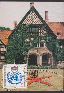 UNO 40 Jahre 1945- 1985 Maxkarte, SoSt. BERLIN 22.10.85 vor der Geisel eines Krieges bewahren DDR 2982 Sansousie