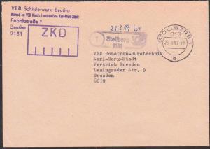 Stollberg ZKD Kastenstempel VEB Schilderwerk Beutha Spatelstempel nach Dresden 28.8.89