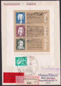 Bach Händel Schütz Germany Ehrung in der DDR, Block 81 Eil-R-Briref mit Erg.-Marke portogenau Weissenfels