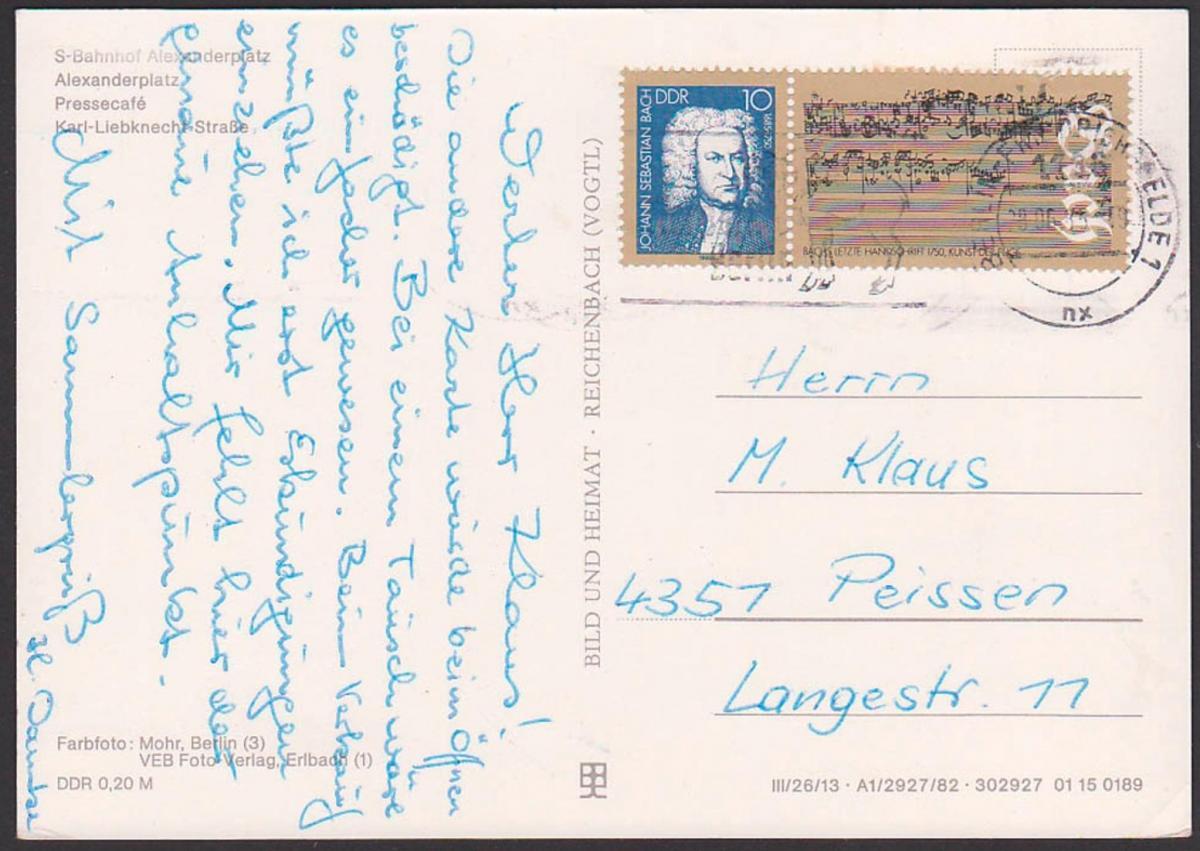 Johann Sebastin Bach Ehrung in der DDR, Marke aus Block 81 Karte MWSt. Berlin Friedrichsfelde, mit Bachs letzte Handschr 0