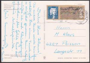 Johann Sebastin Bach Ehrung in der DDR, Marke aus Block 81 Karte MWSt. Berlin Friedrichsfelde, mit Bachs letzte Handschr