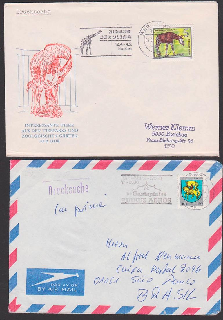 Zirkus circus in der DDR, MWSt. Zirkus Berrolina Berlin, Karl-Marx-Stadt Gastspiel Zirkus Aeros 50 Pf. Wappen Schwerin 0