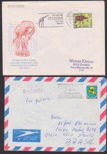 Zirkus circus in der DDR, MWSt. Zirkus Berrolina Berlin, Karl-Marx-Stadt Gastspiel Zirkus Aeros 50 Pf. Wappen Schwerin
