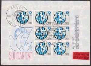 Solidarität, DDR 2950 10+5 Pf Eilsendung portogenau vom Ersttag nach Potsdam Bebelsberg, Weltkarte Friedenstaube