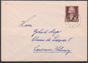 Maxim Gorki russischer Poet 45 Pfg. Auslandsbrief portogenau nach Lausanne Schweiz DDR 354