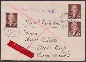 Maxim Gorki russischer Schriftsteller 45 Pfg.Eilboten-Brief, DDR 354(3) nach Kiel 26.4.53