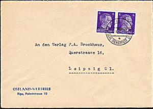Ostland Brief aus Riga nach Dresden Dienstpost Osten Ostland Vertrieb, Deutsches Reich