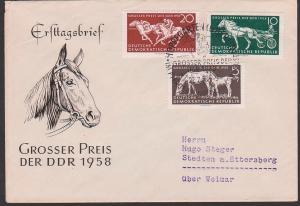 Germany East FDC 640/42 Trabrennen Galopprennen, horse, Großer Preis der DDR 1958, Pferd