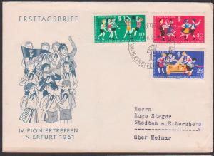 Germany East FDC 827/29 Junge Pioniere Pioniertreffen Erfurt 1961, Volkstanz, Flugmodellbau Volleyball