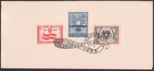 Salzburg 24.8.1955 Gedenkblatt Faltblatt Festspiele  SoSt. Staatsvertrag Staatsdruckerei