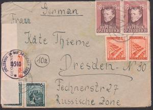 Kapfenberg Steiermark Bf. nach Dresden russische Zone mit Zivilzensur in der britischen Zone, Zensur, Franz Grillparzer