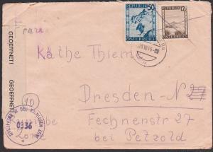 Zensur 0336, Kapfenberg Brief nach Dresden russische Zone mit Zivilzensur in der britischen Zone,  28.VIII 46