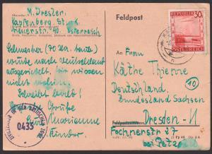 Zensur 0435, Kapfenberg Karte nach Dresden russische Zone mit Zivilzensur in der britischen Zone,  1946