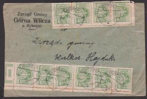 Polska Polen Inflation 29.X. 23, Brief aus SZCZYGLOWINA, Knurów, Frankatur in Einheiten