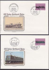 100 Jahre Gotthard-Bahn Schweiz 1214/5, FDC Airhold, Göschenen Dampflokomotive C 4/5, Mehrzweck-E-Lok Re 6/6, Tunnel
