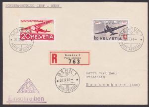 Geneve Helvetia Schweiz 438, FDC Sonderpostflug Genf - Bern R-Brief nach Eschenbach 20.9.44, Abs.-Klappe fehlt