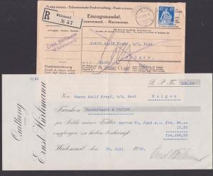 Wätenswil Helvetia Schweiz postes suisses Postsache, Einzugsmandat, R-Brief 27.VIII. 23 mit Quittung, 40 Ct. Helvetia