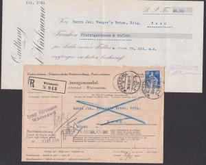 Wätenswil Helvetia Schweiz postes suisses Postsache, Einzugsmandat, R-Brief 29.XI. 22 mit Quittung, 40 Ct. Helvetia