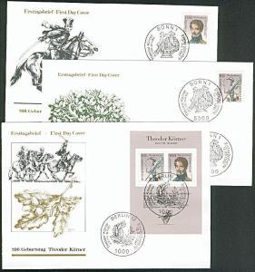 Theodor Körner bzw. Marken aus Block BRD Bl. 25 3 FDC