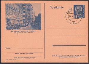 Bildpostkarte Leipziger Messe DDR P47/03 gesamtdeutsche Handel, Berlin W8 14.7.51, unbeschrieben