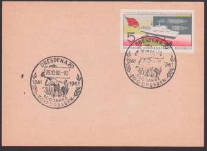 Elefant SoSt. Dresden 100 Jahre Zoo 1861 - 1961, auf Unterlage  26.10.60,  5 Pfg. Parteitag FDGB Urlauberschiff