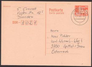 DDR Auslands-Ganzsache 25 Pfg. Berlin mit Fernsehturm 4.11.86, P87I
