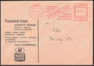 Germany Zerbst AFS 1939 'Friedrich Gast Buchhaltung Musikalien Heimatschrifttum!' Bücher Bilder Noten Drucksache