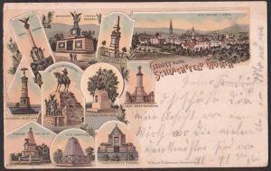 Wörth Litho 1901 Gruss vom Schlachtfeld mit 10 Ansichten, Denkmale der Regimenter von Thüringen, Hessen, Bayern