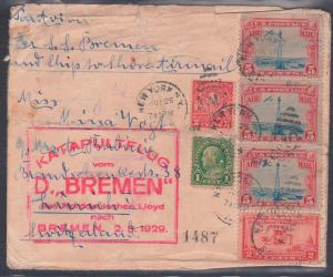 USA 1925 letter New York to Zurich Switzerland with Katalpultflug vom D.