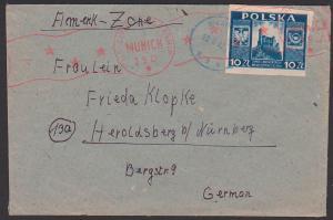 Polska Bieseowice 19.4.47 Brief censura civil München Munich letter to Heroldsberg bei Nürnberg