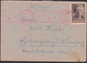 Polska kepice Szezecin 22.7.47 Brief US civil censorhsip München Munich letter to Heroldsberg bei Nürnberg