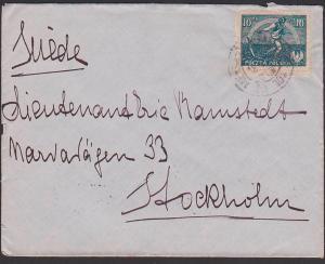 Polska POLEN letter Brief 1921 nach Schweden Stockholm