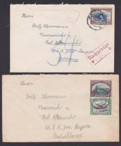 south west africa Windhock 2 letters to Germany , mit Nachgebühr Neuenmuhr Altenmuhr Bayern Bi-Zone