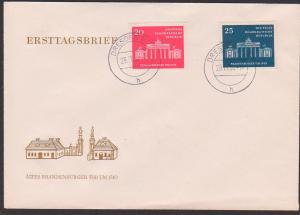 Berlin Brandenburger Tor FDC mit Tagesst. Dresden 29.11.58, DDR 665/66 auf Schmuckumschlag