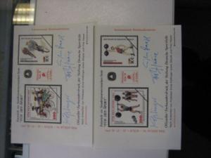 Vignettenpaar der Sporthilfe Für den Sport 1991 mit Zudruck PHILATELIA 1991 Köln