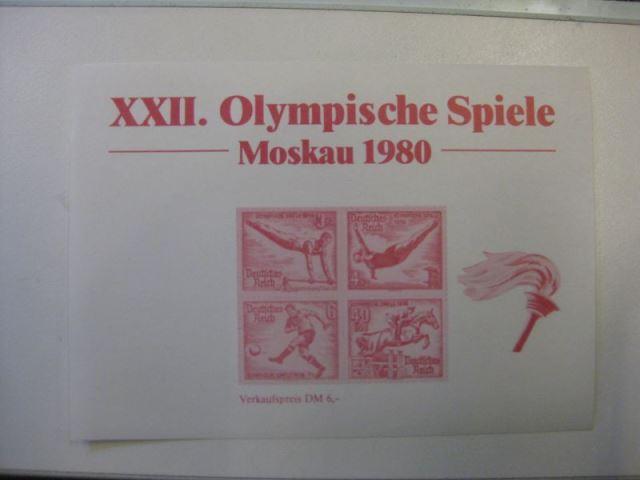 Vignette XXII. Olympische Spiele MOSKAU 1980