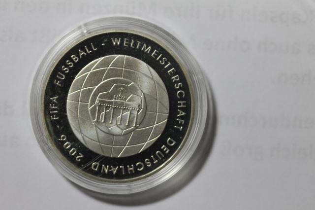 10 EURO Silbermünze Fußball - WM, Ausgabe 2005, Polierte Platte, Spiegelglanz