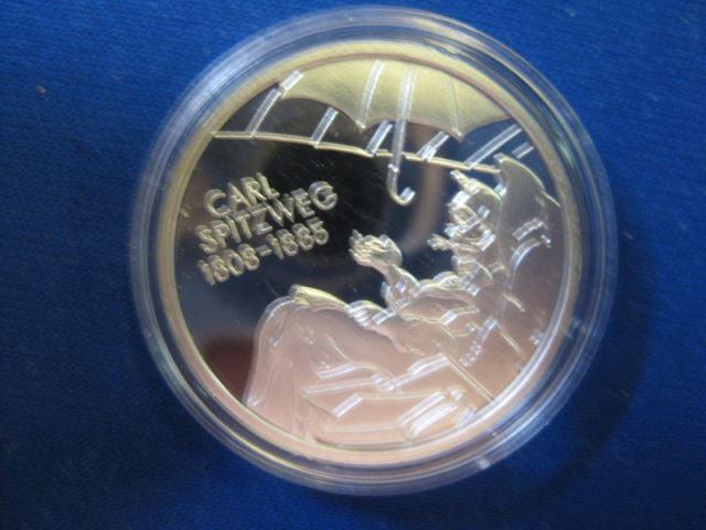 10 EURO Silbermünze Carl Spitzweg; Polierte Platte, Spiegelglanz