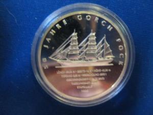 10 EURO Silbermünze Segelschulschiff Gorch Fock; Polierte Platte, Spiegelglanz