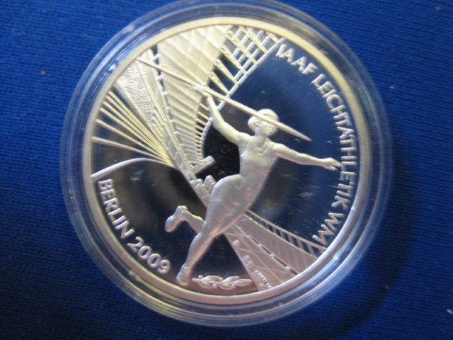 10 EURO Silbermünze IAAF Leichtathletik - WM Berlin 2009; Polierte Platte, Spiegelglanz