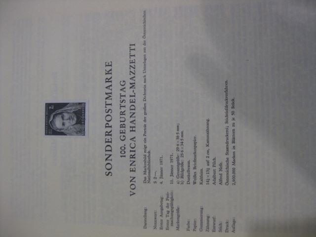 Österreich Amtlicher Schwarzdruck SD der Post: Enrica Handel-Mazzetti