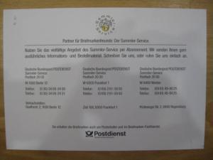 Gedenkblatt des Sammler-Service der Post zur NAPOSTA`93 in Dortmund