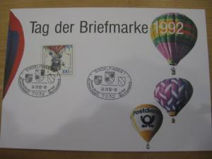 Stempelkarte, Erinnerungskarte  Tag der Briefmarke 1992